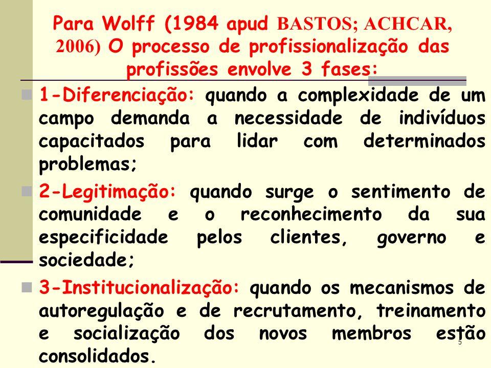 Para Wolff (1984 apud BASTOS; ACHCAR, 2006) O processo de profissionalização das profissões envolve 3 fases: