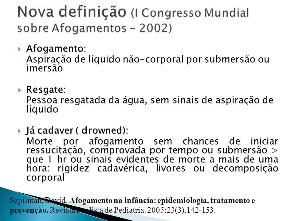 Nova definição (I Congresso Mundial sobre Afogamentos – 2002)