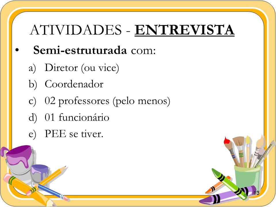 ATIVIDADES - ENTREVISTA