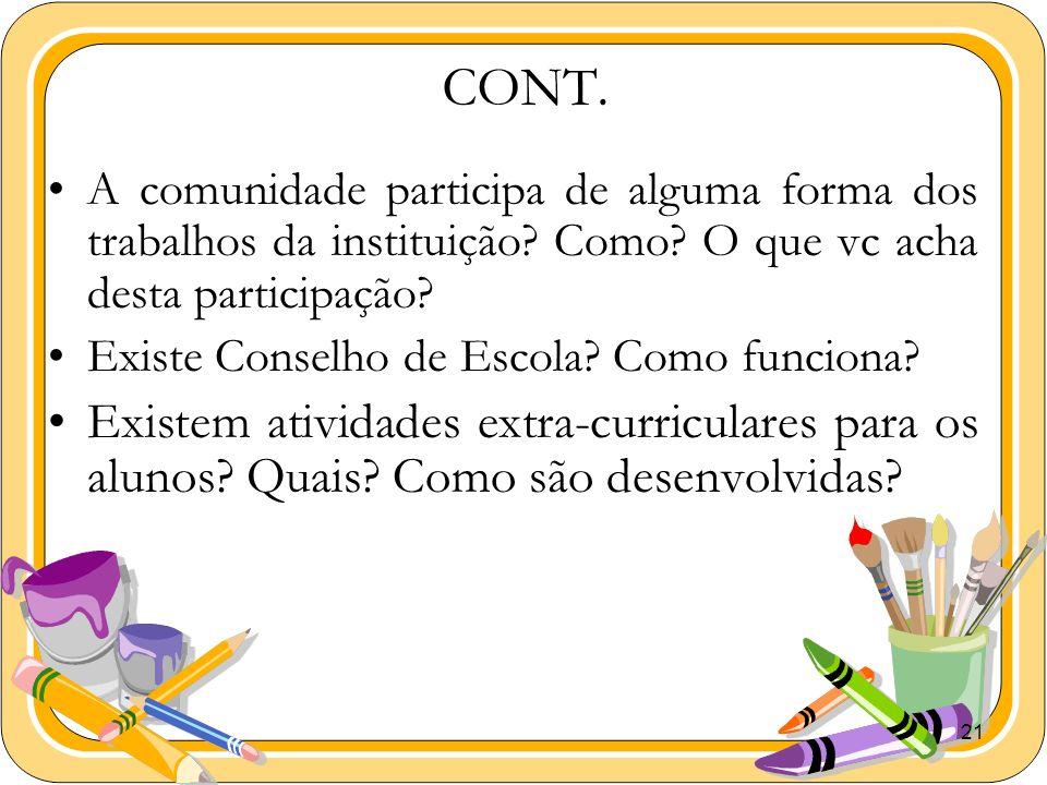 CONT. A comunidade participa de alguma forma dos trabalhos da instituição Como O que vc acha desta participação