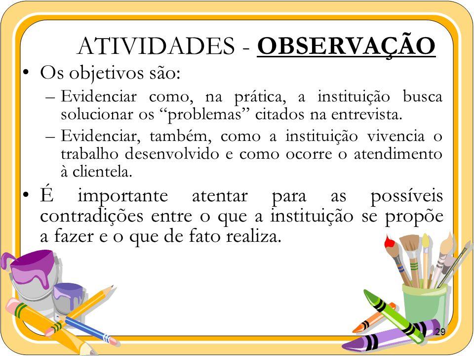 ATIVIDADES - OBSERVAÇÃO