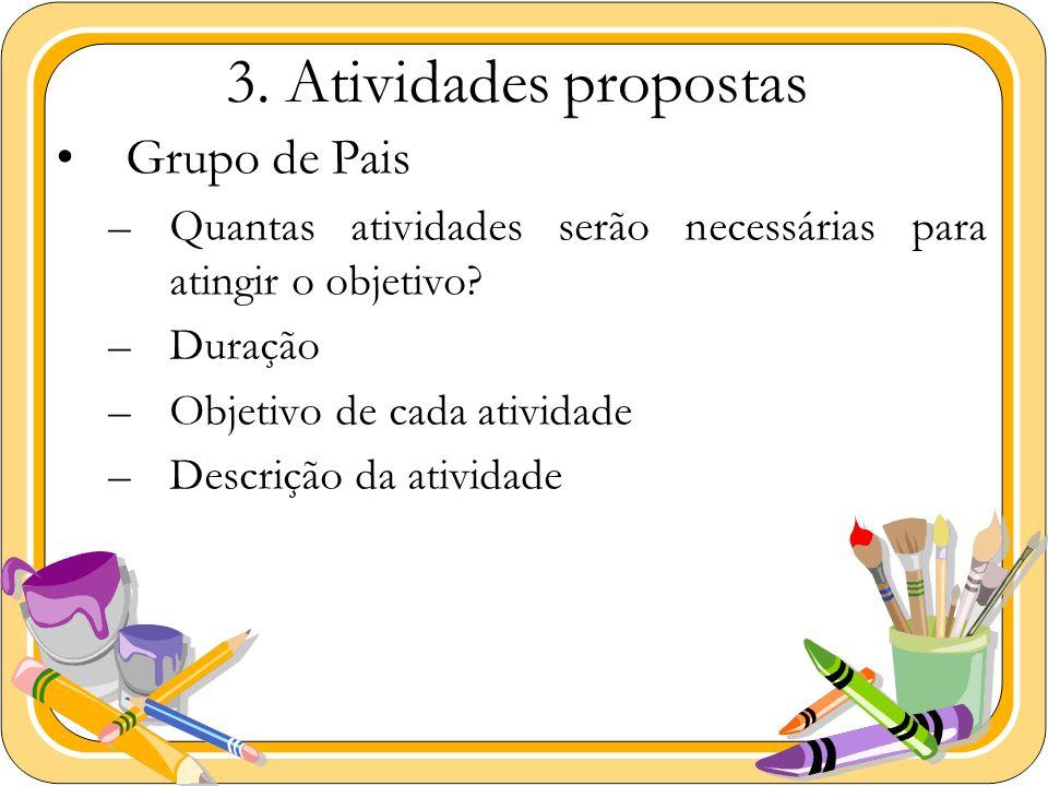3. Atividades propostas Grupo de Pais