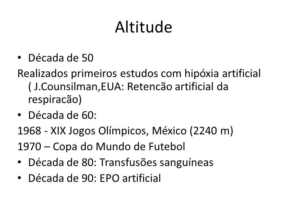 Altitude Década de 50. Realizados primeiros estudos com hipóxia artificial ( J.Counsilman,EUA: Retencão artificial da respiracão)