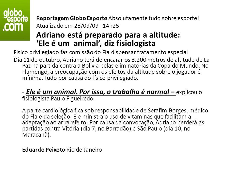 Reportagem Globo Esporte Absolutamente tudo sobre esporte!