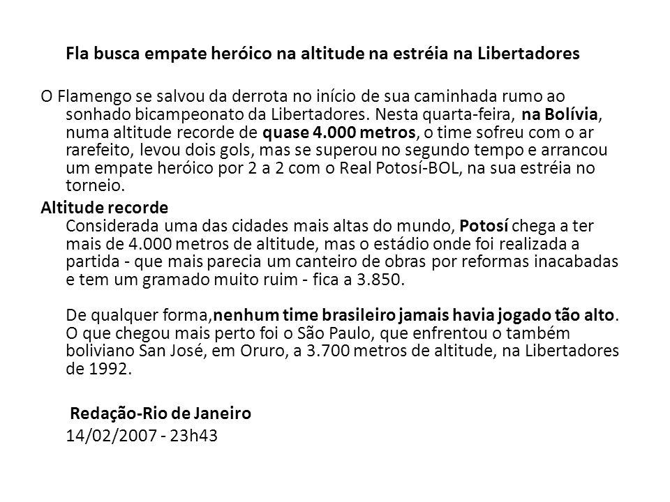 Redação-Rio de Janeiro 14/02/2007 - 23h43