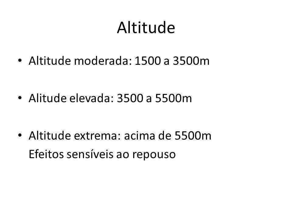 Altitude Altitude moderada: 1500 a 3500m Alitude elevada: 3500 a 5500m
