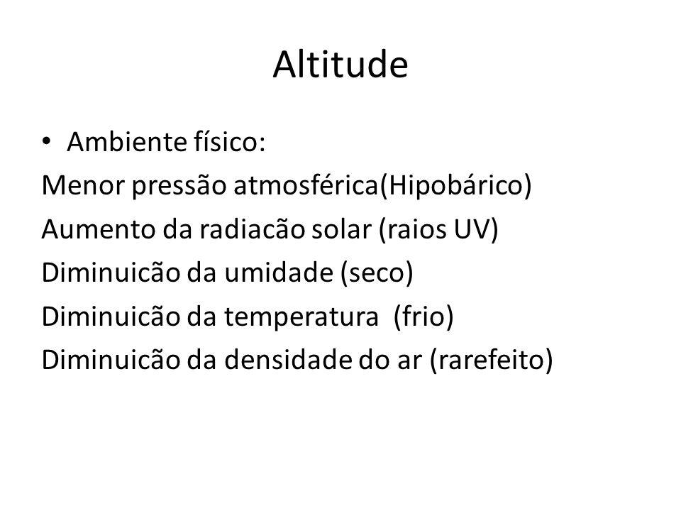 Altitude Ambiente físico: Menor pressão atmosférica(Hipobárico)