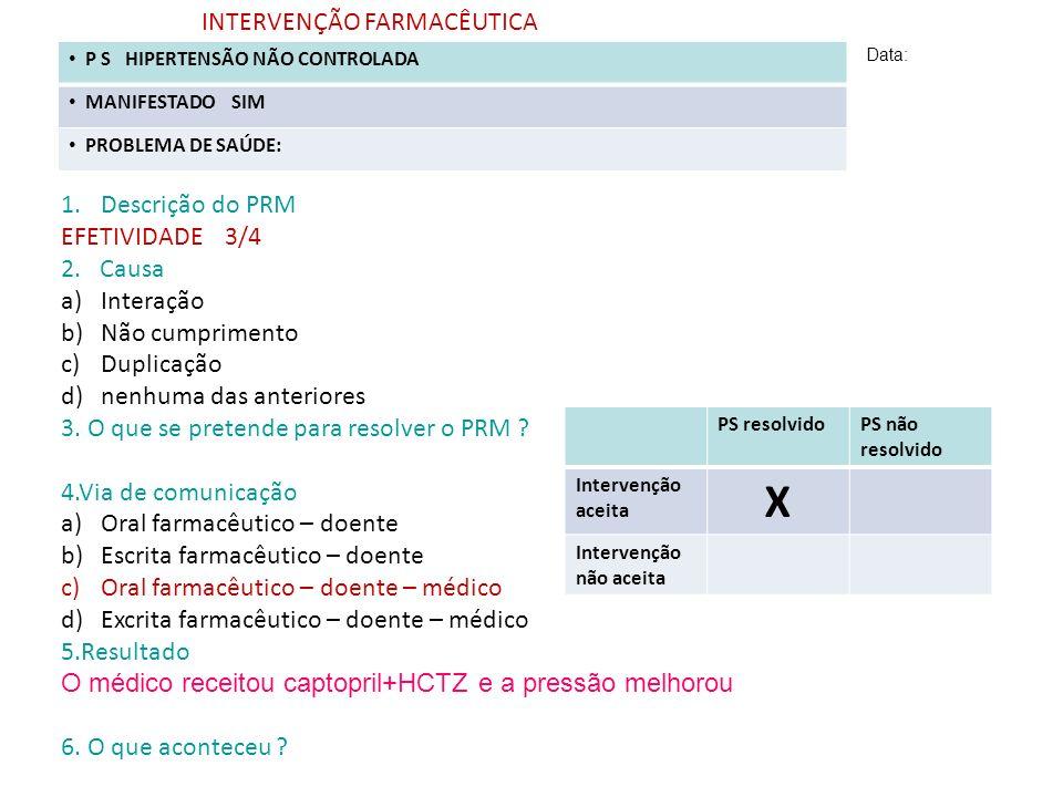 X INTERVENÇÃO FARMACÊUTICA Descrição do PRM EFETIVIDADE 3/4 2. Causa