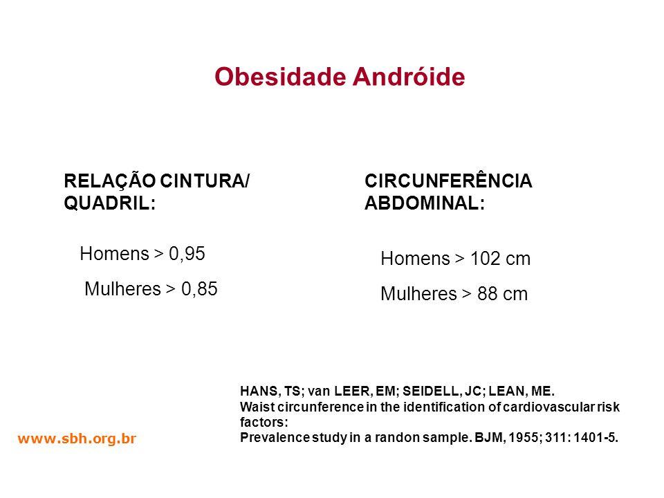Obesidade Andróide RELAÇÃO CINTURA/ QUADRIL: CIRCUNFERÊNCIA ABDOMINAL: