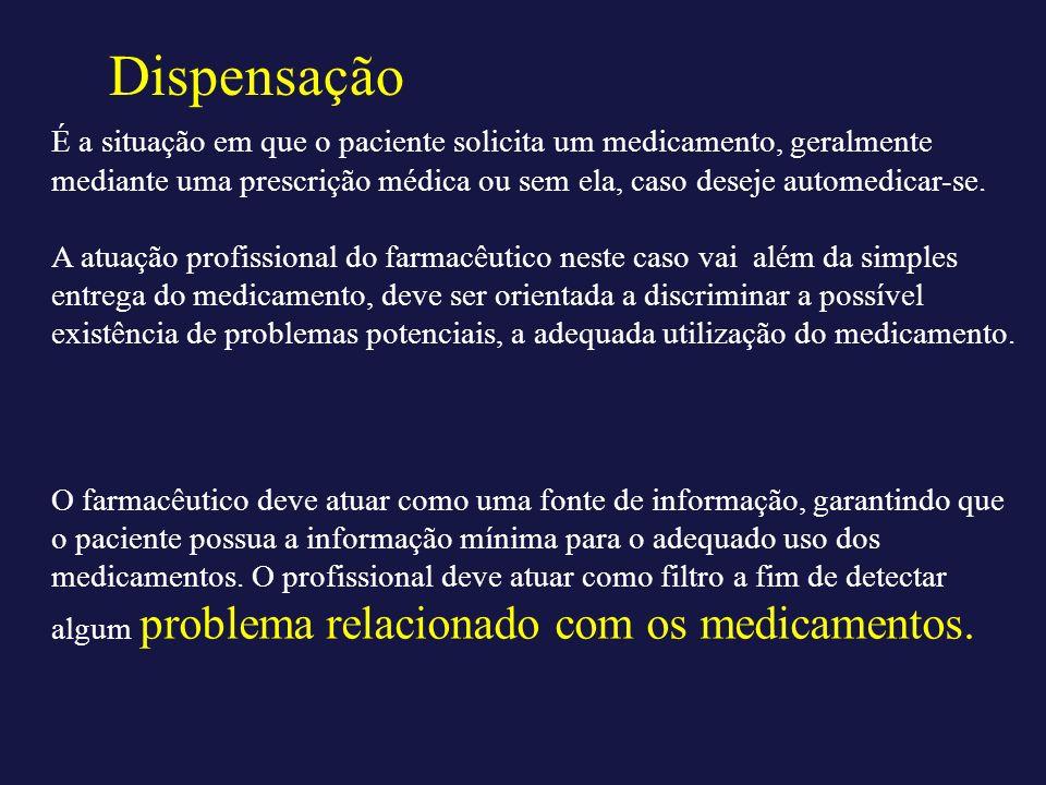 DispensaçãoÉ a situação em que o paciente solicita um medicamento, geralmente mediante uma prescrição médica ou sem ela, caso deseje automedicar-se.