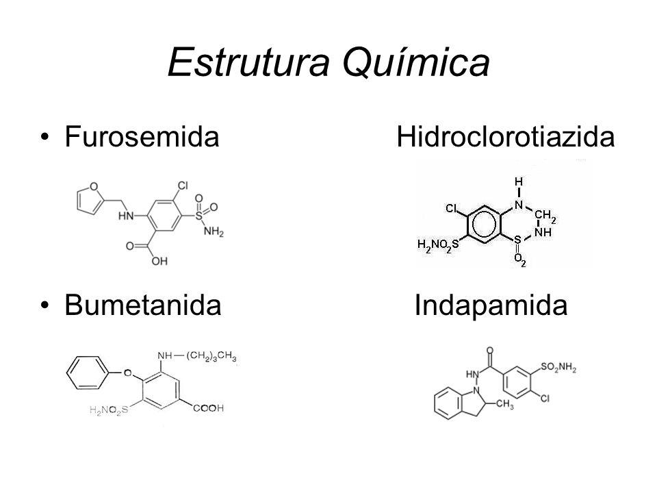 Estrutura Química Furosemida Hidroclorotiazida.