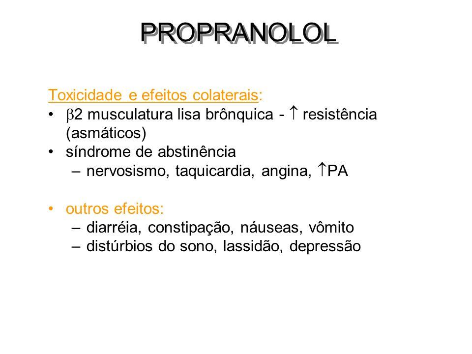 PROPRANOLOL Toxicidade e efeitos colaterais: