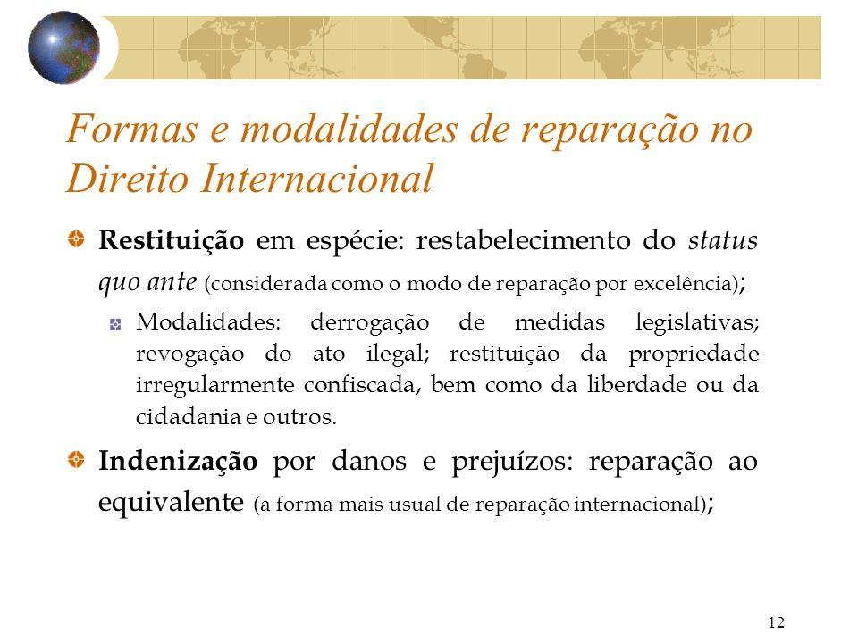 Formas e modalidades de reparação no Direito Internacional