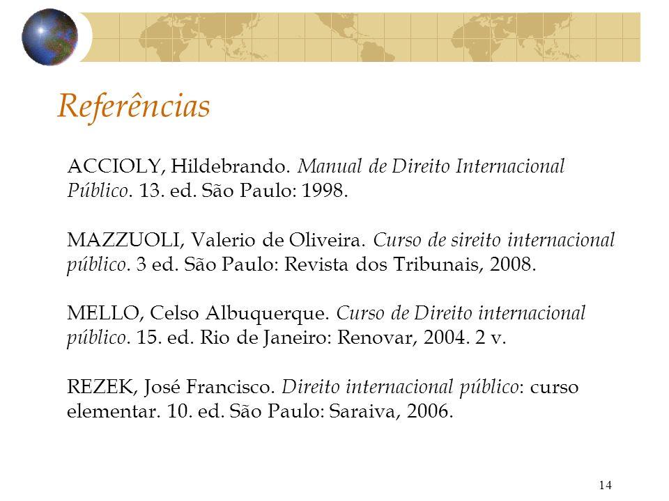 Referências ACCIOLY, Hildebrando. Manual de Direito Internacional Público. 13. ed. São Paulo: 1998.