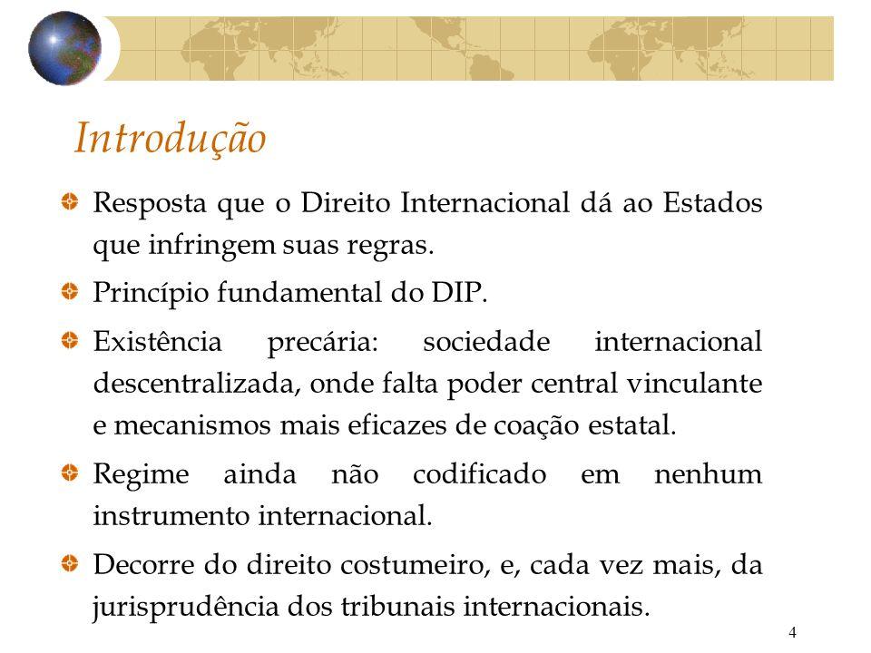 Introdução Resposta que o Direito Internacional dá ao Estados que infringem suas regras. Princípio fundamental do DIP.