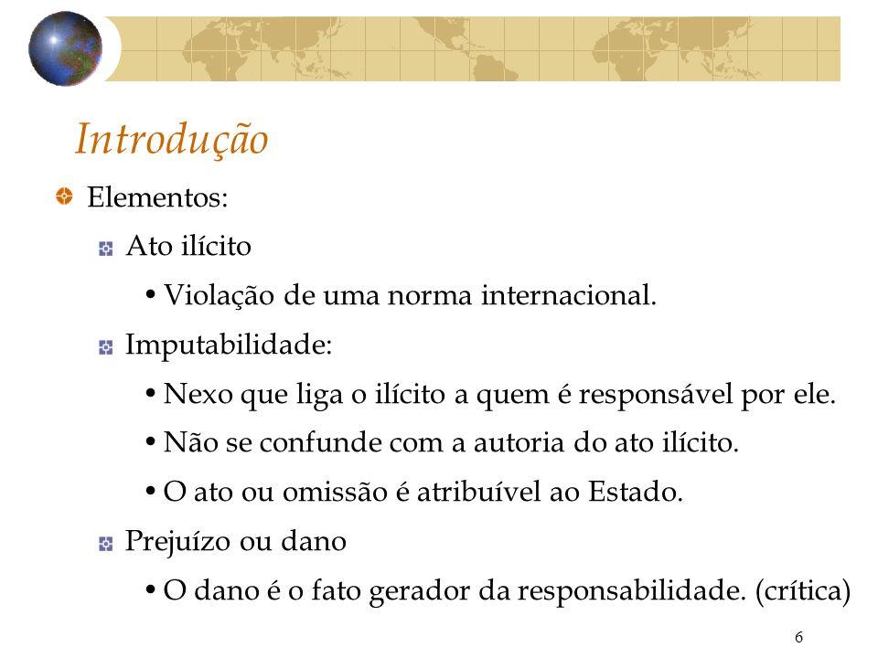 Introdução Elementos: Ato ilícito Violação de uma norma internacional.