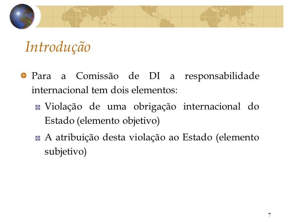 Introdução Para a Comissão de DI a responsabilidade internacional tem dois elementos: