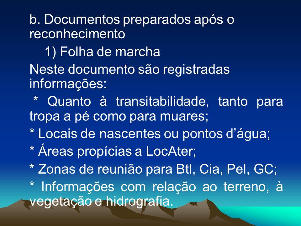 b. Documentos preparados após o reconhecimento