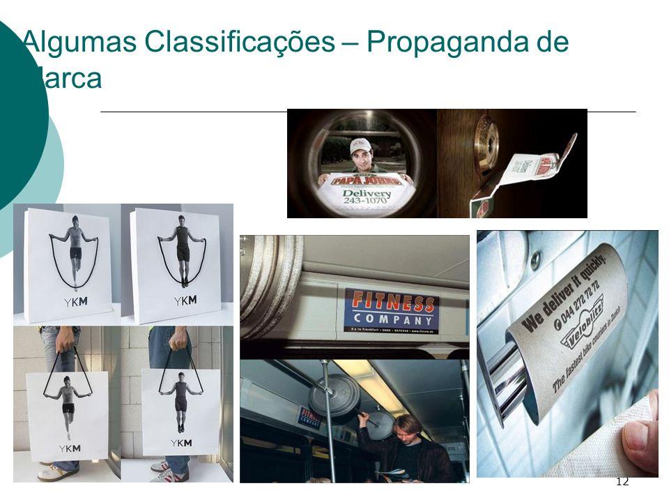 Algumas Classificações – Propaganda de Marca