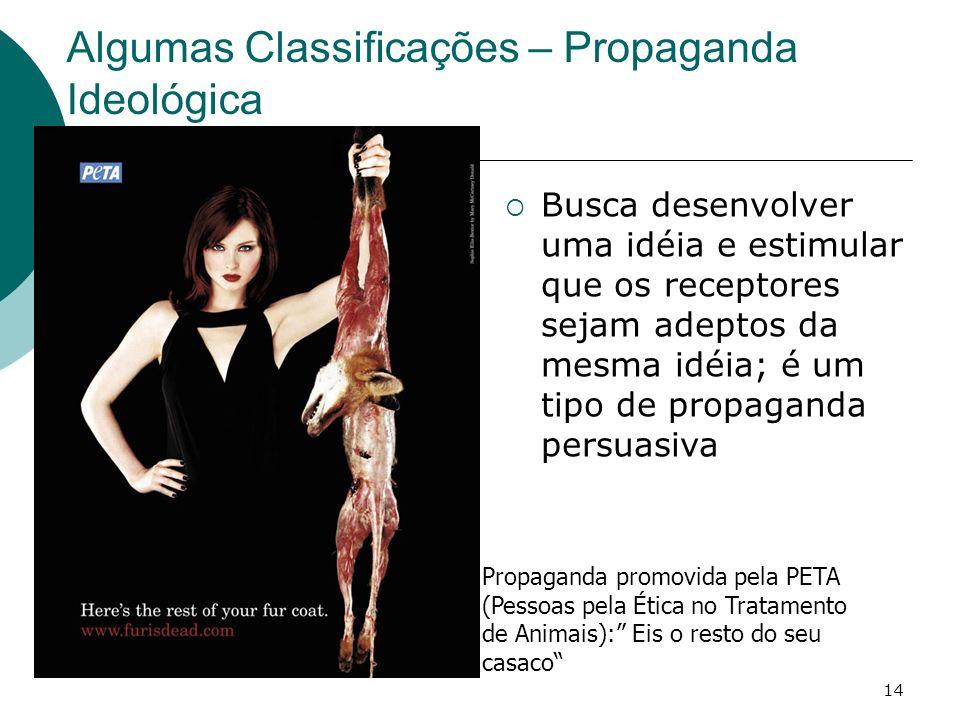 Algumas Classificações – Propaganda Ideológica
