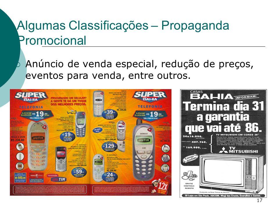 Algumas Classificações – Propaganda Promocional