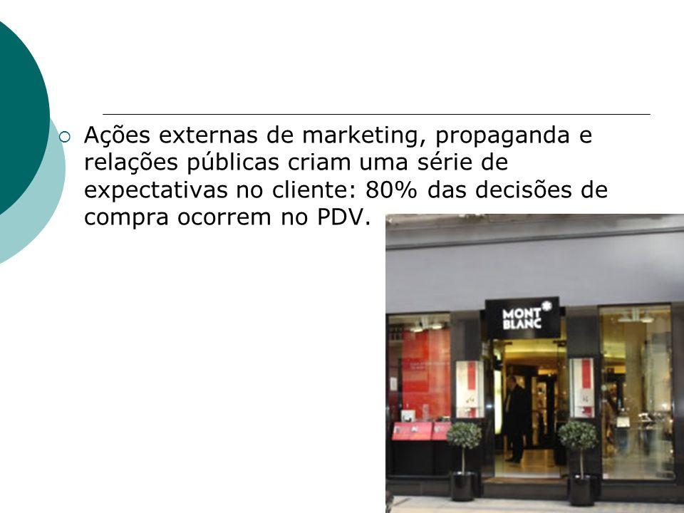 Ações externas de marketing, propaganda e relações públicas criam uma série de expectativas no cliente: 80% das decisões de compra ocorrem no PDV.