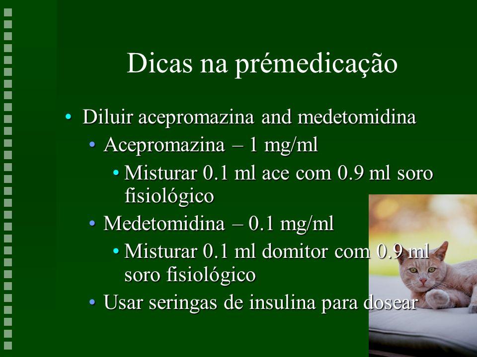 Dicas na prémedicação Diluir acepromazina and medetomidina