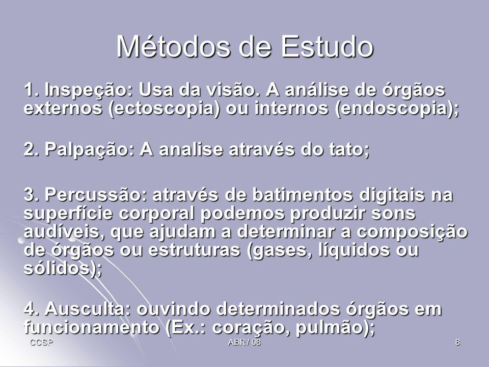 Métodos de Estudo 1. Inspeção: Usa da visão. A análise de órgãos externos (ectoscopia) ou internos (endoscopia);