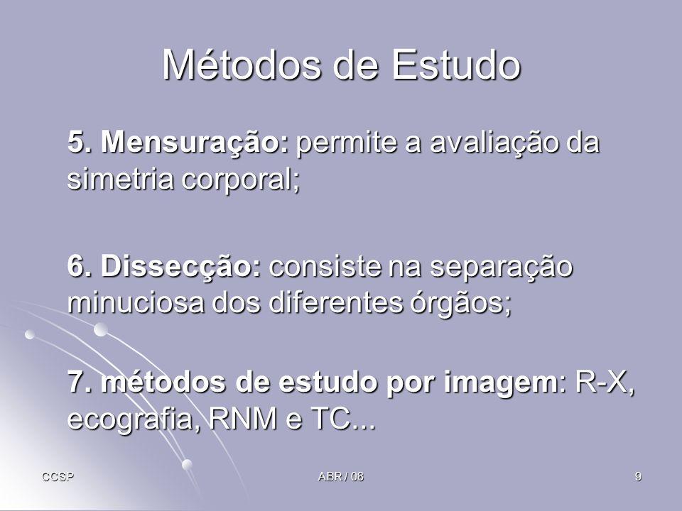 Métodos de Estudo 5. Mensuração: permite a avaliação da simetria corporal; 6. Dissecção: consiste na separação minuciosa dos diferentes órgãos;