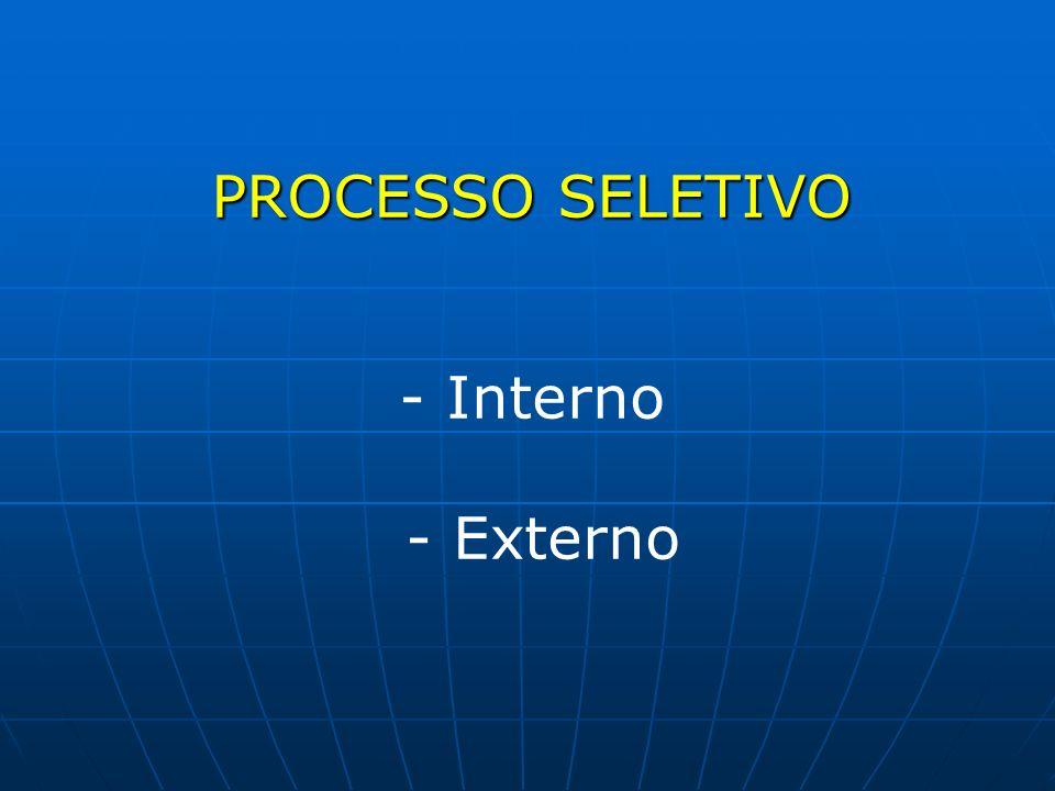 PROCESSO SELETIVO - Interno - Externo