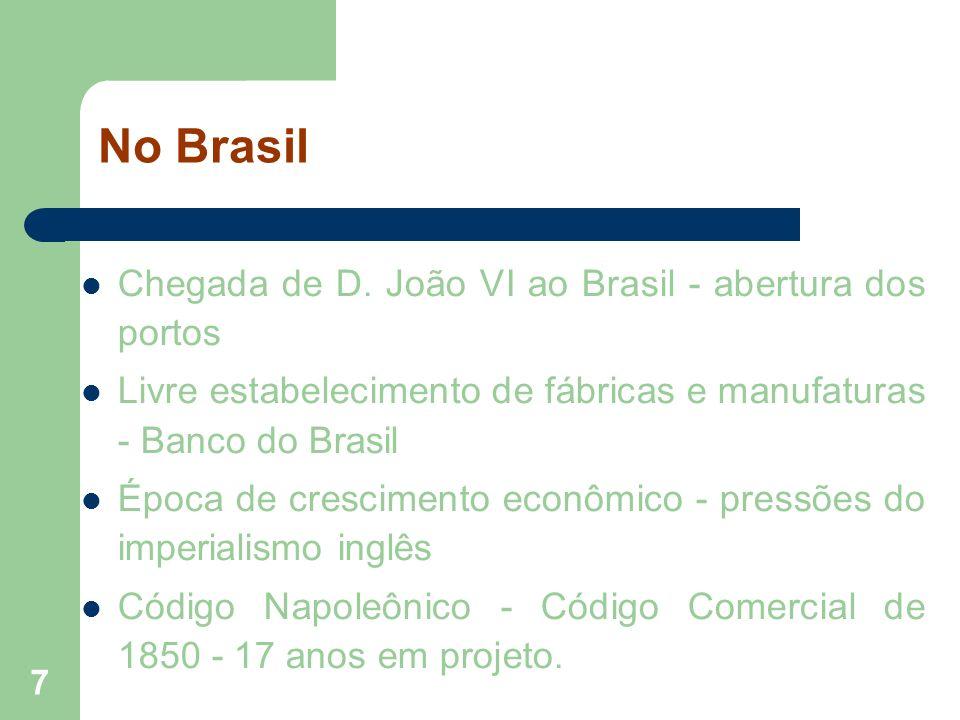 No Brasil Chegada de D. João VI ao Brasil - abertura dos portos
