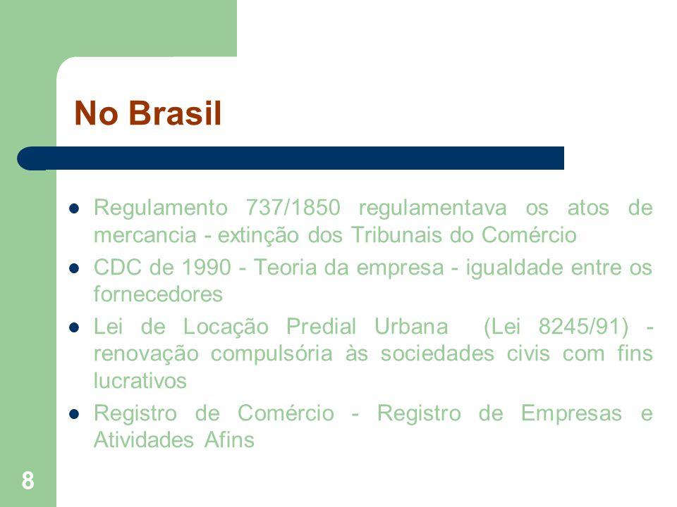No BrasilRegulamento 737/1850 regulamentava os atos de mercancia - extinção dos Tribunais do Comércio.
