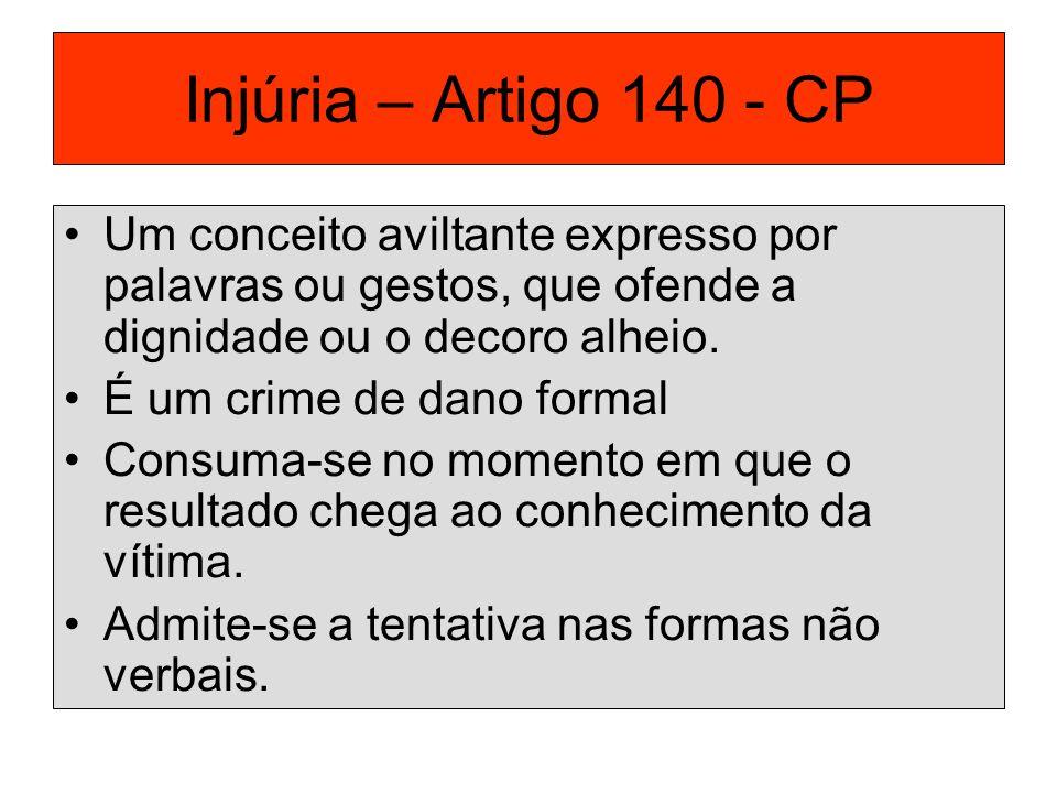 Injúria – Artigo 140 - CP Um conceito aviltante expresso por palavras ou gestos, que ofende a dignidade ou o decoro alheio.