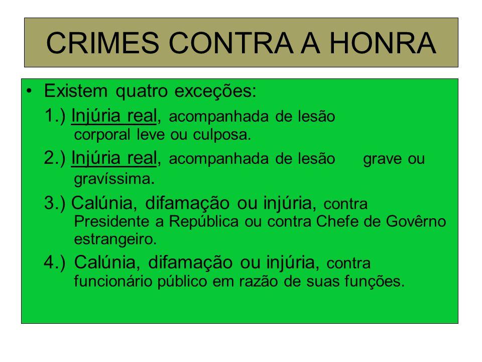 CRIMES CONTRA A HONRA Existem quatro exceções:
