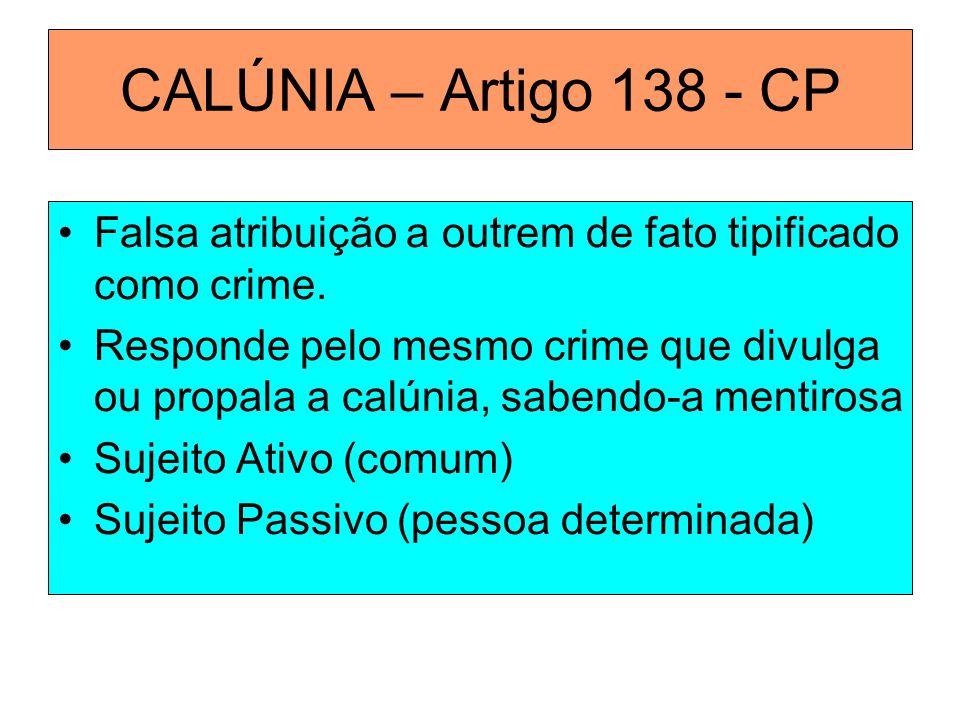 CALÚNIA – Artigo 138 - CP Falsa atribuição a outrem de fato tipificado como crime.