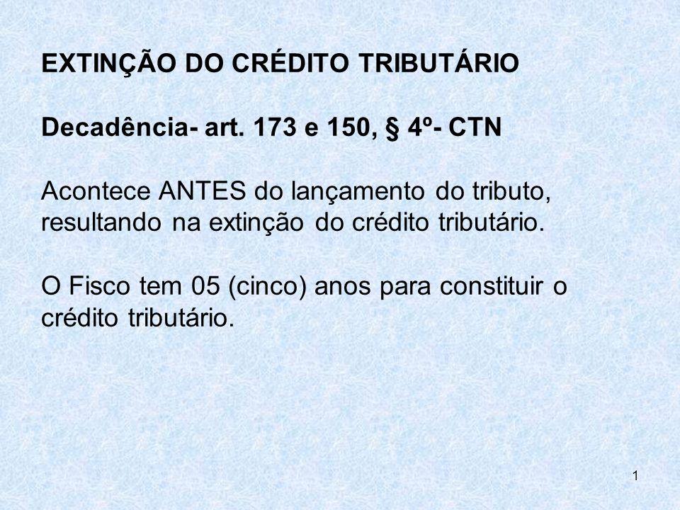 EXTINÇÃO DO CRÉDITO TRIBUTÁRIO Decadência- art