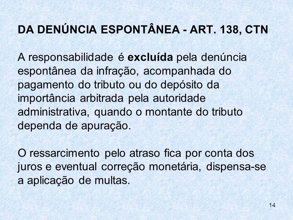DA DENÚNCIA ESPONTÂNEA - ART