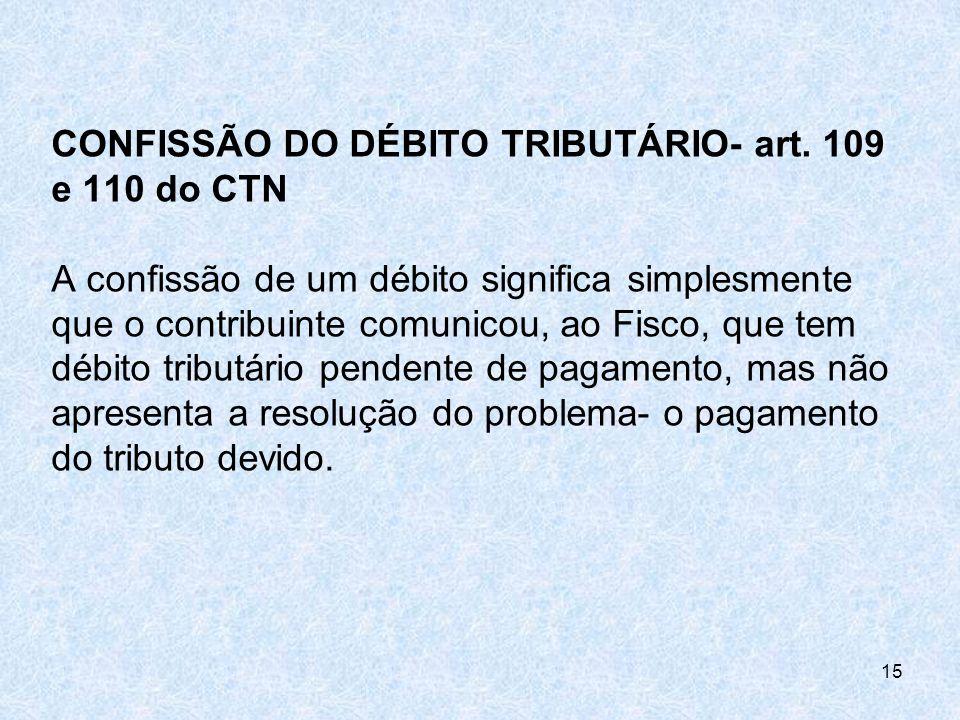 CONFISSÃO DO DÉBITO TRIBUTÁRIO- art