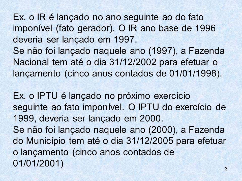 Ex. o IR é lançado no ano seguinte ao do fato imponível (fato gerador)