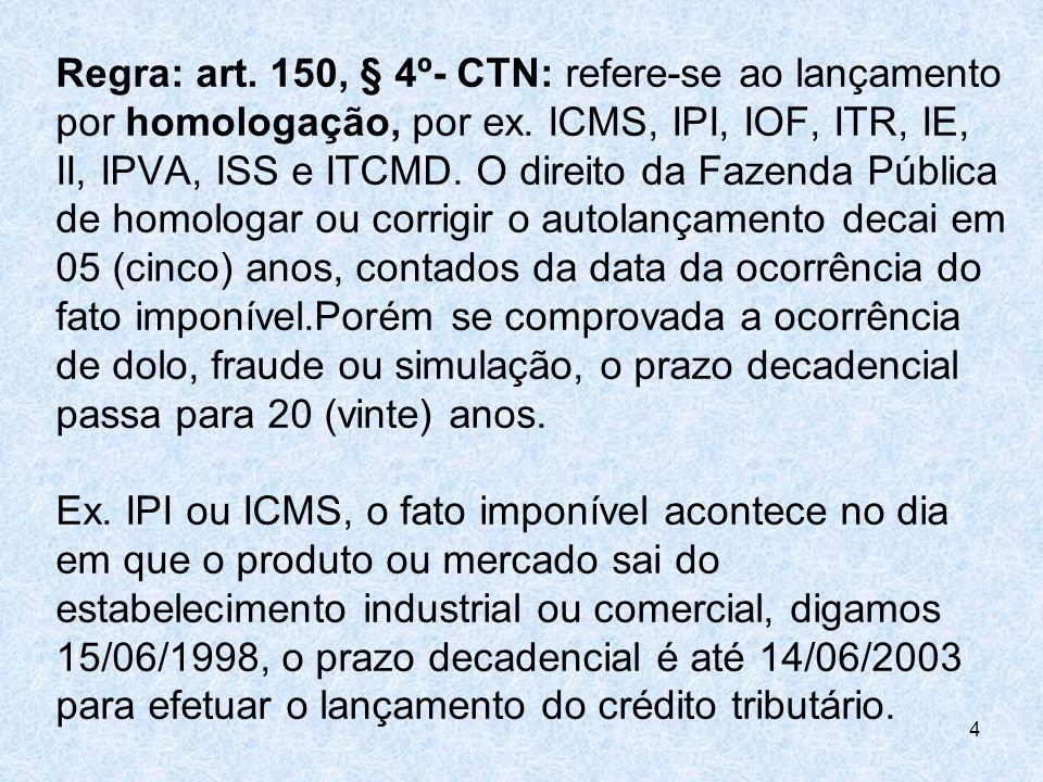 Regra: art. 150, § 4º- CTN: refere-se ao lançamento por homologação, por ex.