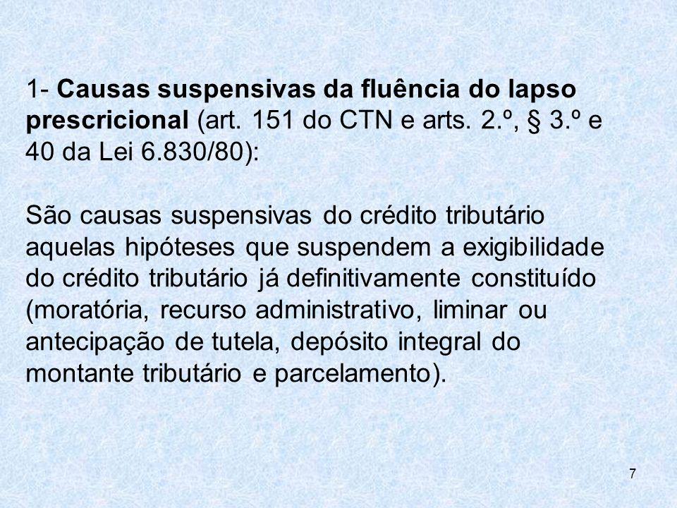 1- Causas suspensivas da fluência do lapso prescricional (art