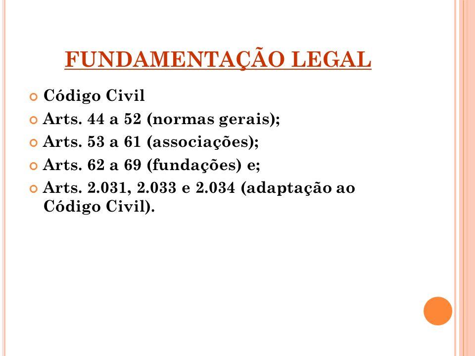 FUNDAMENTAÇÃO LEGAL Código Civil Arts. 44 a 52 (normas gerais);