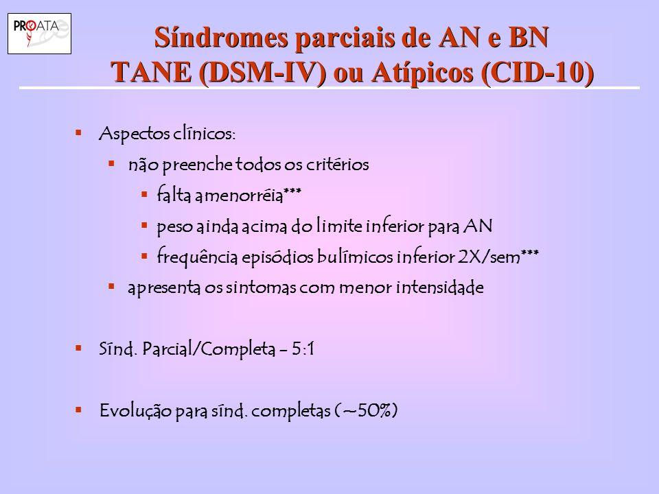 Síndromes parciais de AN e BN TANE (DSM-IV) ou Atípicos (CID-10)