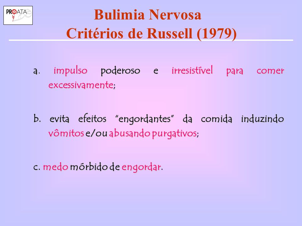 Bulimia Nervosa Critérios de Russell (1979)