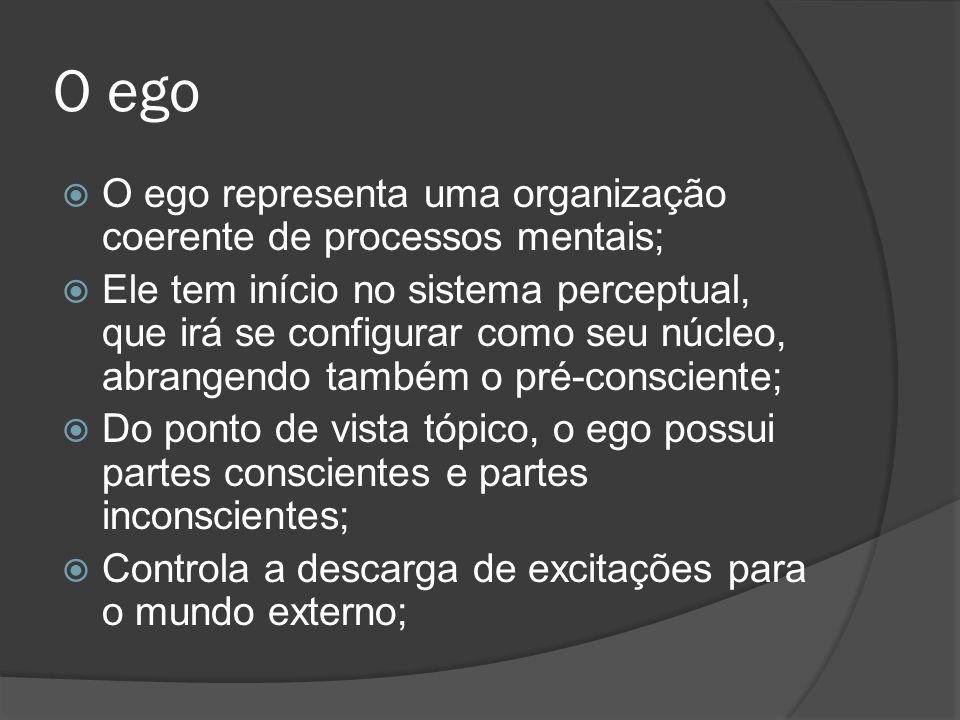 O ego O ego representa uma organização coerente de processos mentais;