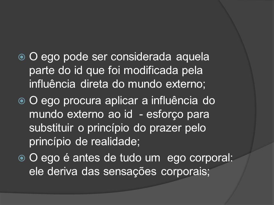 O ego pode ser considerada aquela parte do id que foi modificada pela influência direta do mundo externo;