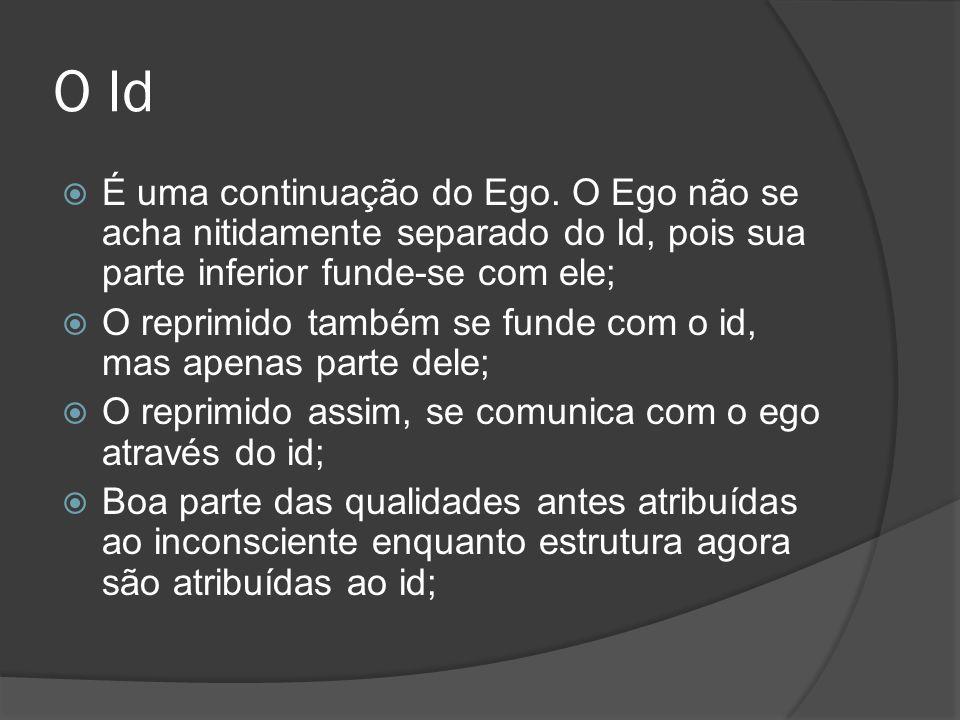 O Id É uma continuação do Ego. O Ego não se acha nitidamente separado do Id, pois sua parte inferior funde-se com ele;