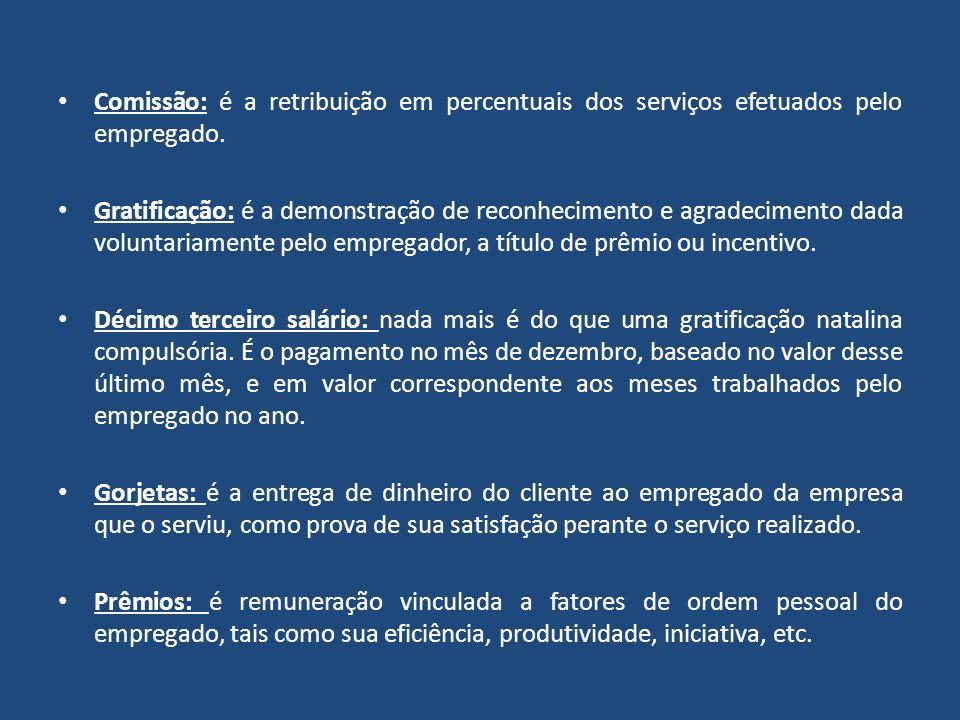 Comissão: é a retribuição em percentuais dos serviços efetuados pelo empregado.