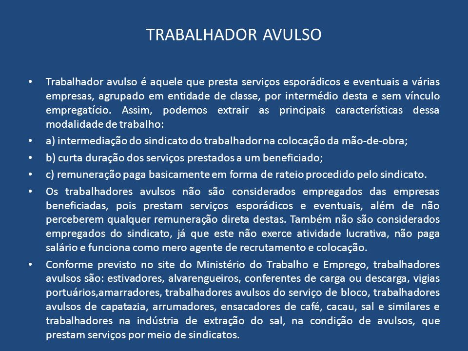TRABALHADOR AVULSO