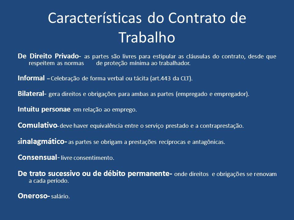 Características do Contrato de Trabalho